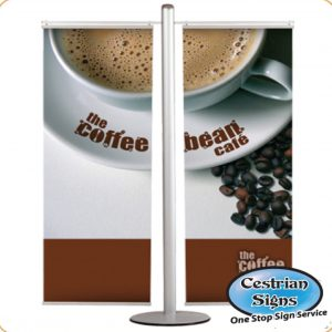 Pole With 2 X 600mm Banner Set