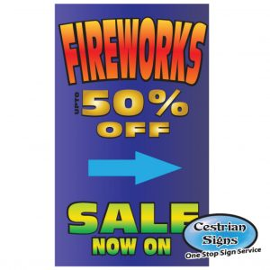 Fireworks for sale signs