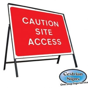 Caution site Access Stanchion Sign