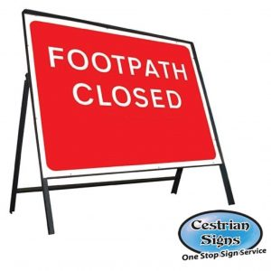 Footpath Closed Stanchion Sign Complete