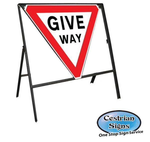 Give Way Stanchion Sign Complete
