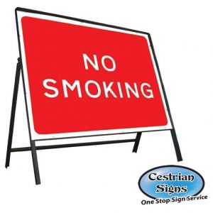 No-smoking-metal-stanchion-sign