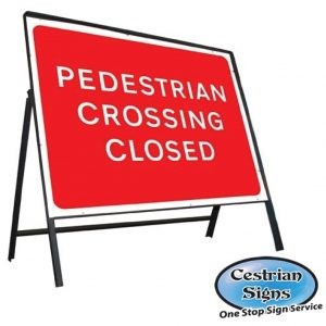 Pedestrian Crossing Closed Stanchion Sign