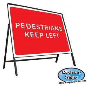 Pedestrians-keep-left-stanchion-sign