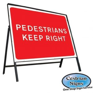 Pedestrians-keep-right-stanchion-sign
