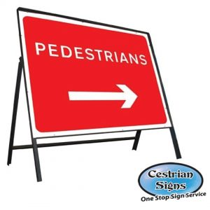 Pedestrians Right Arrow Sign Complete