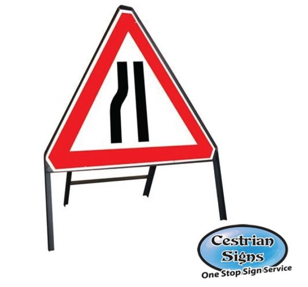 Road-Narrows-Left-Stanchion-Sign