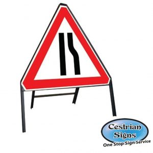 Road Narrows Right Stanchion Sign