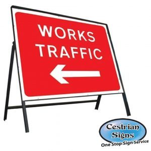 Works Traffic Left Stanchion Sign