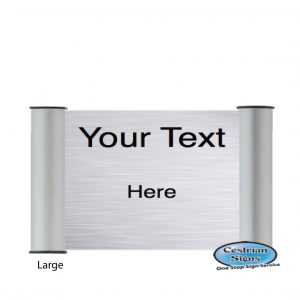 Printed Office Name Plate Door Sign Large Silver