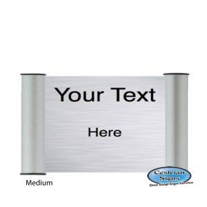 Printed Office Name Plate Door Sign Medium Silver