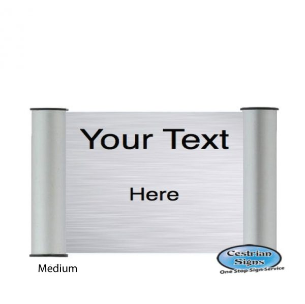 Printed Office Name Plate Door Sign Medium Silver