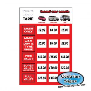 Car Wash Tariff Posters