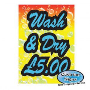 Hand Car Wash And Dry Sign