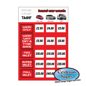 Hand Car Wash Tarif Sign