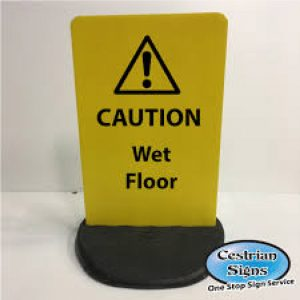 Caution wet floor sign free standing outdoor sign