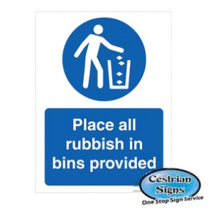 Place-All-Rubish-In-The-Bin-Sign