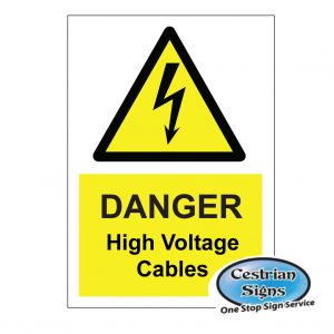 Danger high voltage cables signs