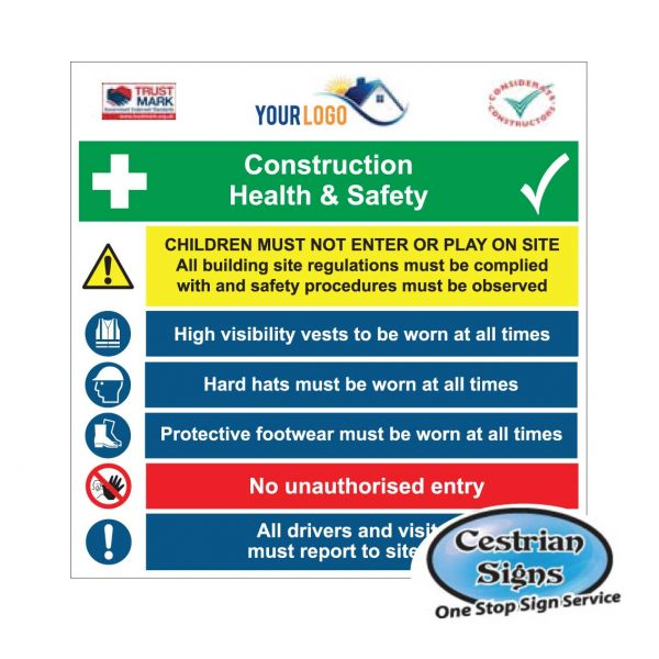 Site Safety,Building Site Construction Site Signs Sticker or 6mm Correx Sign