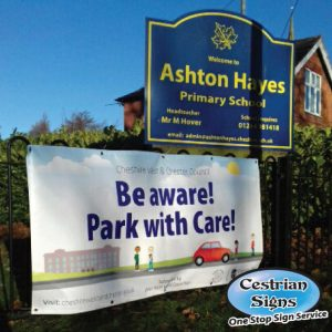Be Aware Park With Care School Parking Banner