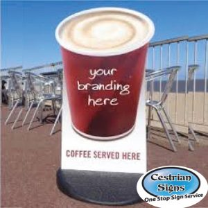 Coffee-Cup-Shaped-Pavement-Sign