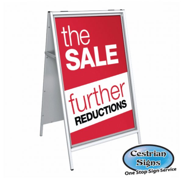 steel framed a board sign wwith clear plastic poster covers,