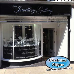 Jewellery shop facia sign chester