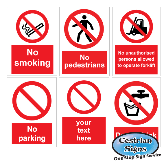 PROHIBITION SITE SAFETY SIGNS
