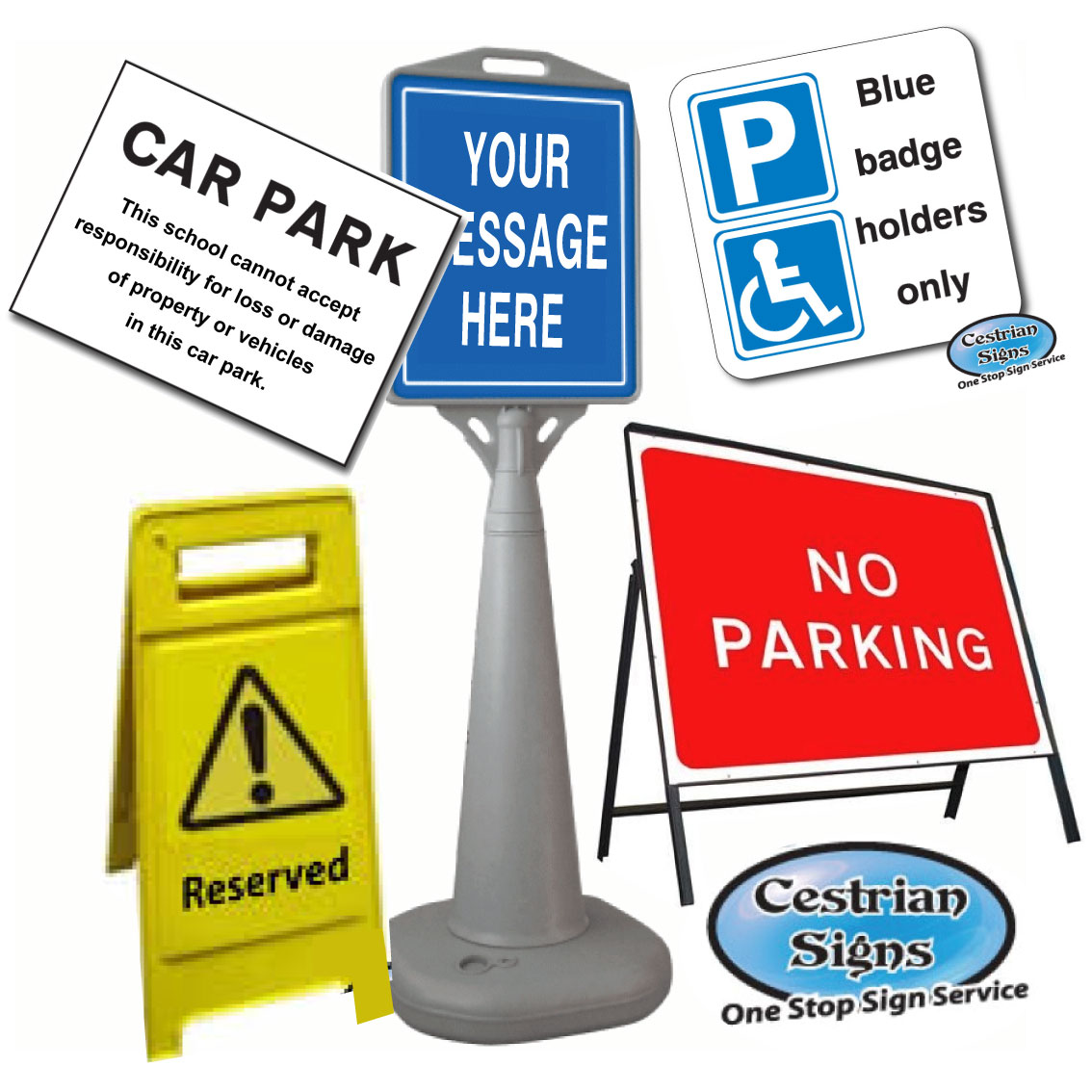 Car Park, Pedestrian and Traffic Signs