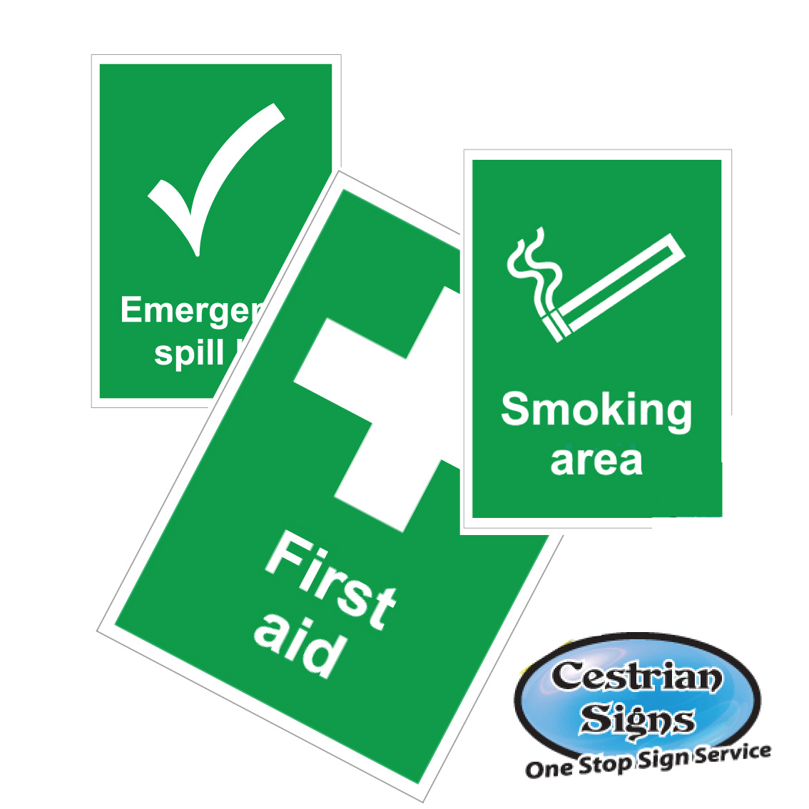 First Aid and Smoking Area Site Signs