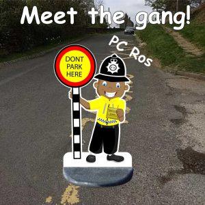 Police Man No Parking School Sign