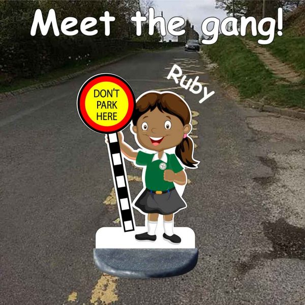 School No Parking Pavement Sign Ruby