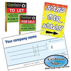 Giant Charity Cheques, For Sale Signs, Car Wash Signs