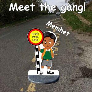 School no parking pavement sign Memhet