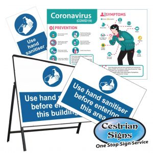 Coronavirus safety and information signs