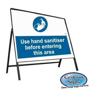 hand sanitiser in this area stanchion sign