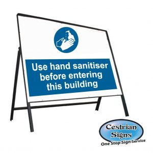 Use hand sanitiser before entering building stanchion sign