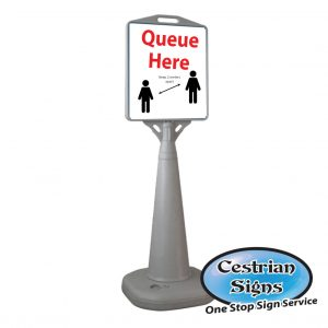Queue 2 metres apart free standing sign
