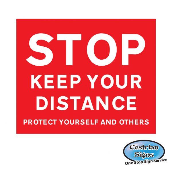 Stop keep your distance floor sticker