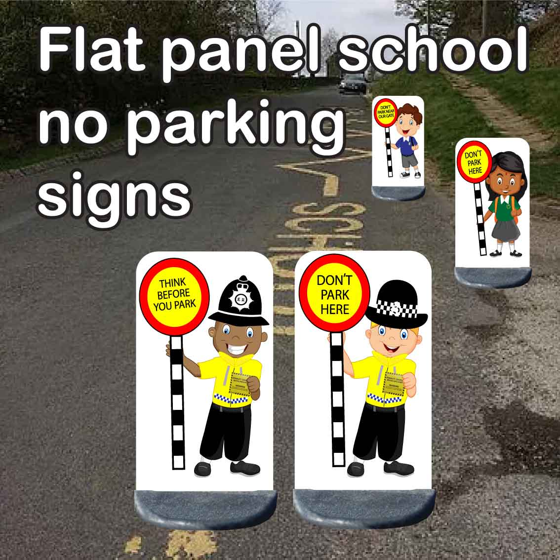 School no parking signs flat panel