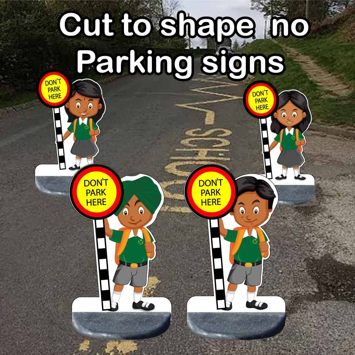 Cut out no parking school signs