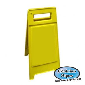 Blank free standing yellow sign