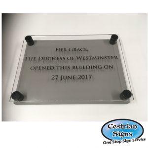 Perspex opening ceremony plaque