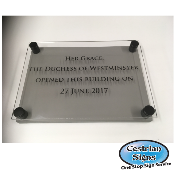 Perspex opening ceremony plaque