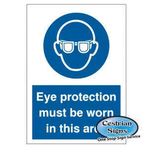 eye protection to be worn in this area blue safety signs