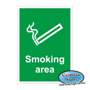 smoking area site sign