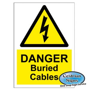 Danger buried cables signs