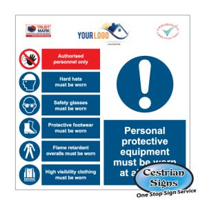 Personal protective equipment site entrance sign