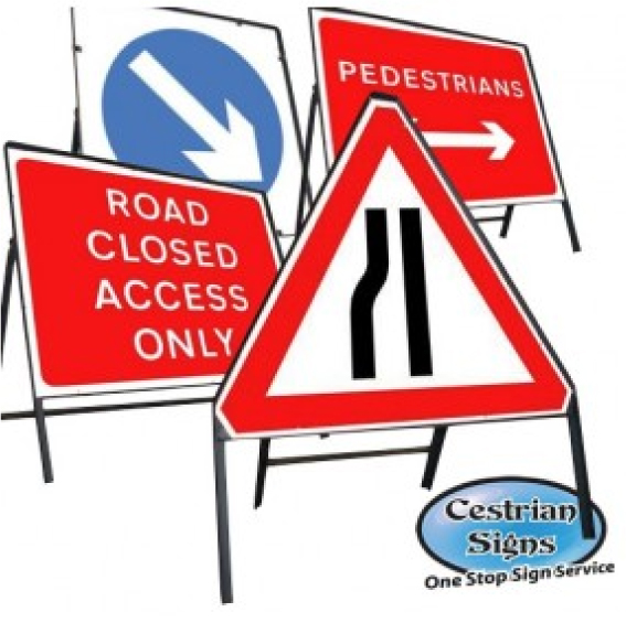 Freestanding Metal Framed Stanchion Road Signs