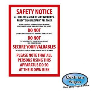 Bouncy castle disclaimer sign